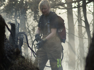 Firefighters remain at the scene of the large fire at Formby woods and Formby Golf Club