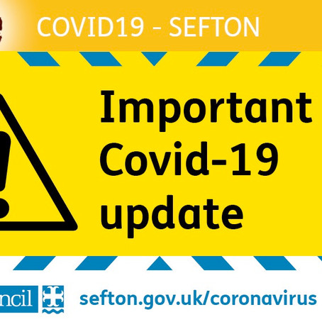 Important Covid-19 Update for Sefton after today's announcement by the Prime Minister