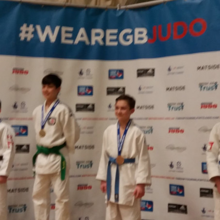 Waterloo Judo Club celebrate two players winning Bronze in the England Open