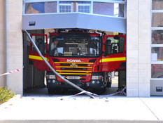 Fire Engine Crashes into Fire Station Doors