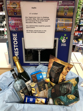 Formby Co-op holding a raffle and supervisor Jess is climbing Snowdon for children with Cancer in Me