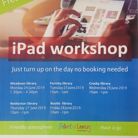 IPad Workshop at local libraries this week - Free and all welcome