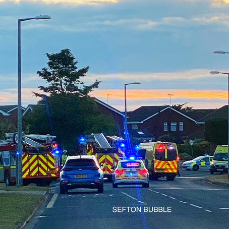 Emergency services remain at the scene of an RTC in Ainsdale