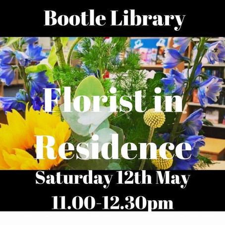 Florist in residence at Bootle library on 12th May