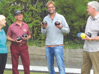 Jürgen Klopp plays Crown Green Bowls at Holy Trinity in Formby