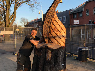 The Viking Ship is finished in Formby Village by sculptor Simon Archer and it looks great!