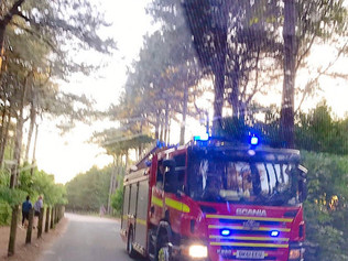Large fire at Formby woods involving pine trees at Formby Golf Club