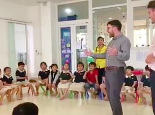 Two Formby men re-created the viral 'in the entry' video with their class of Vietnamese children
