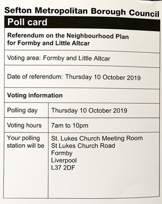The Referendum on the Neighbourhood Plan for Formby and Little Altcar is tomorrow. Please go and vot