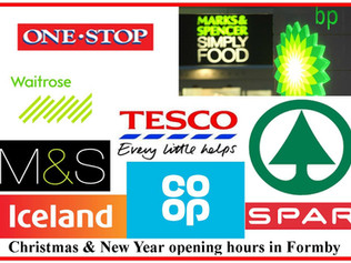 Formby Supermarkets and convenience stores opening hours over Christmas and New Year
