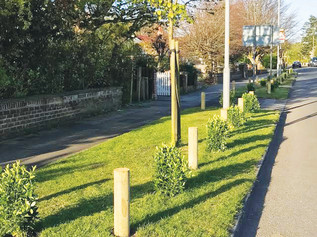 Formby Parish Council install plants and posts on the Gateway into Formby