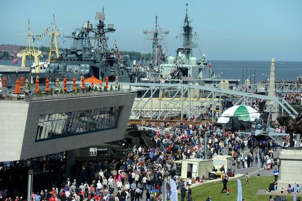 Crowds visit the ships at Liverpool Cruise Terminal during the Battle of the Atl