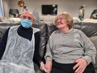Smiles all round at Formby Care Home as couple are reunited after lockdown