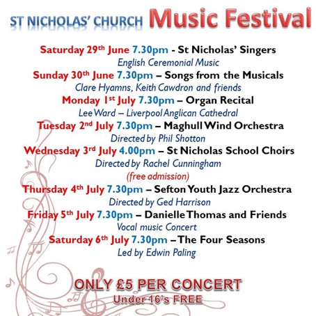 St. Nicholas Church, Blundellsands 6th Annual Music Festival starts this Saturday