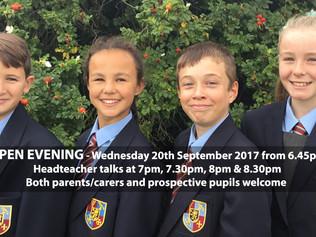 Range High School Open Evening this Wednesday 20th September