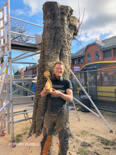 Tree stump in Formby Village is being carved into a Viking Ship by sculptor Simon Archer