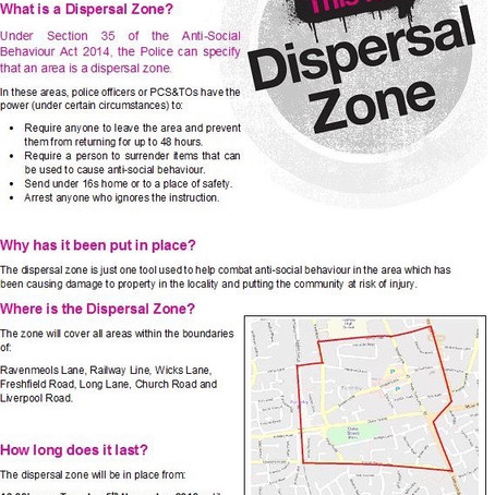 The Dispersal Zone will remain in place in Formby until 4pm today
