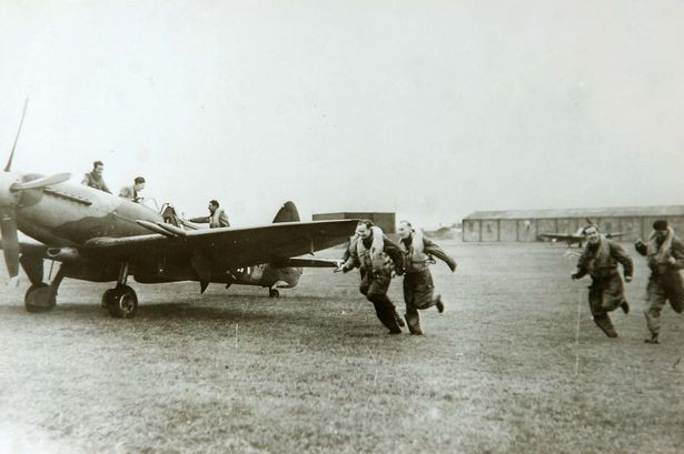 Pilots from 611 squadron running to spitfires at RAF Woodvale dates 1950 (Pictur