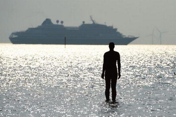 Cruise liner Prinsendam seen leaving Merseyside from Crosby beach last summer.jp