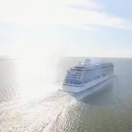 The Viking Venus was the first cruise liner to leave Liverpool today in 14 months