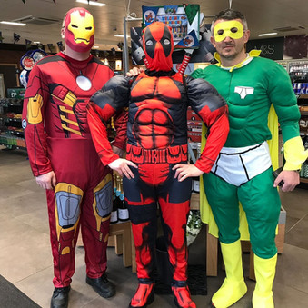 Staff at the BP in Formby dressed up for Superhero Day and also have a cake sale tomorrow