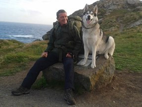Litter Picking Wayne Dixon and his dog Koda will be visiting Formby today at Freshfield Primary Scho