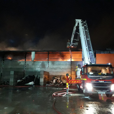 Firefighters are currently in attendance at a large fire at a warehouse In Kirkdale