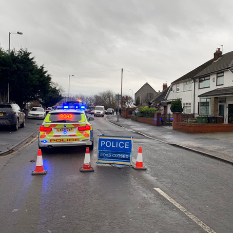 Road closed by Police after RTC in Formby