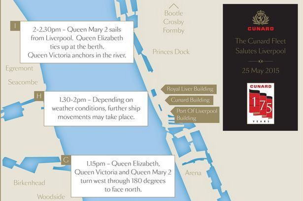 QUEEN-05Graphic showing how the Cunard Fleet will salute Liverpool on May 25 201