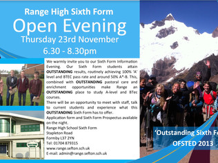 You are invited to Range High Sixth Form Open Evening on Thursday 23rd November