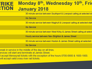 Due to strike action, a limited service will operate across Merseyrail on Monday 8th, Wednesday 10th