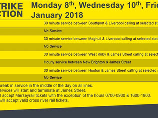 Due to strike action, a limited service will operate across Merseyrail on Friday 12th January 2018.