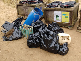 A freezing cold beach clean on Monday saw a lot of plastic items on the beach