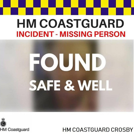 HM Coastguard Crosby & Southport tasked to assist Police with a search for missing person in Sefton