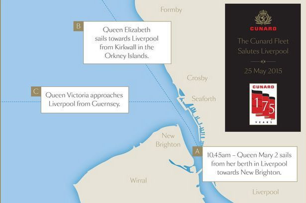 QUEEN-03 Graphic showing how the Cunard Fleet will salute Liverpool on May 25 20