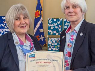 Susan receives prestigious award for her significant contribution to Girlguiding