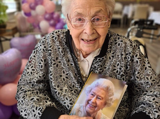 Happy 107th Birthday to the oldest lady in Formby who Celebrates in lockdown with a poem