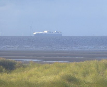The Atlantic Sea sails past Formby this morning