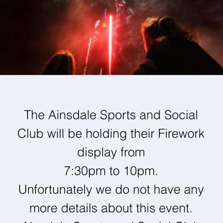 Fireworks Displays TONIGHT- Friday 1st November