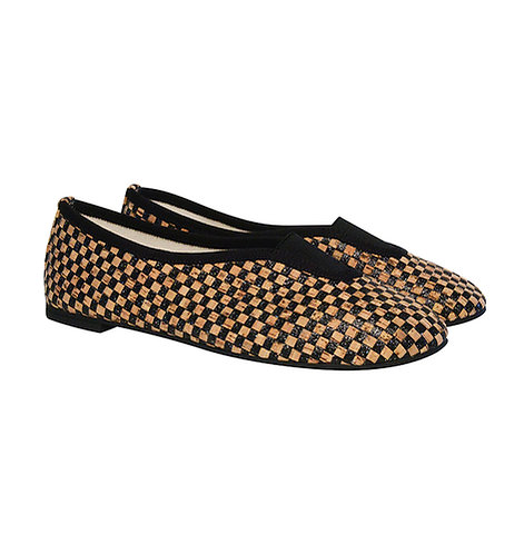 slippers, shoes, chaussons de ville, chaussures, vegan shoes, Via Gioia Paris, tweed, ballerinas, ballerines rythmiques