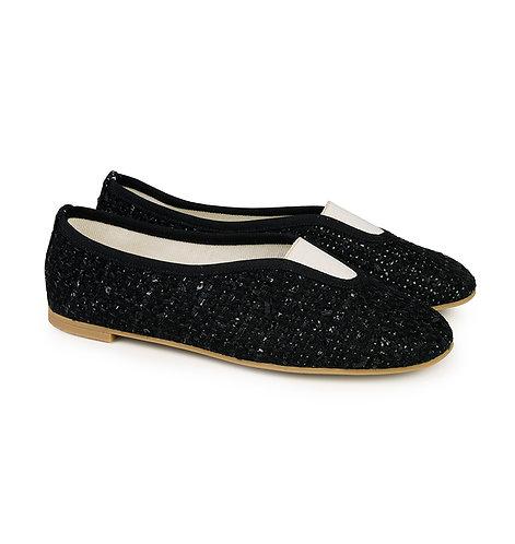 slippers, shoes, chaussons de ville, chaussures, vegan shoes, Via Gioia Paris, tweed, ballerinas, ballerines rythmiques