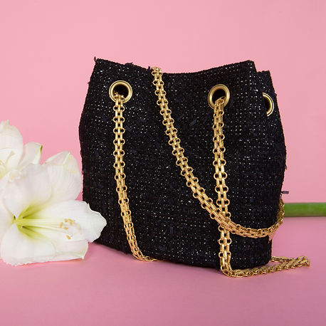 black tweed bucket bag Via Gioia