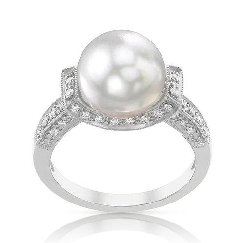 Bague sertie perle d'Australie et diamants - Or 18k
