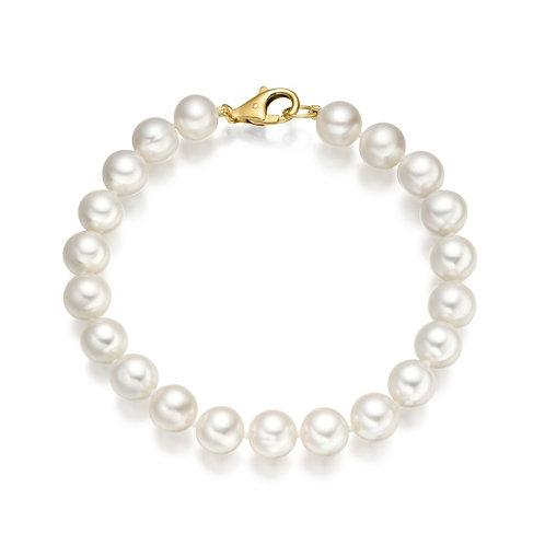 Bracelet perles d'eau douce blanches (8-9 mm)