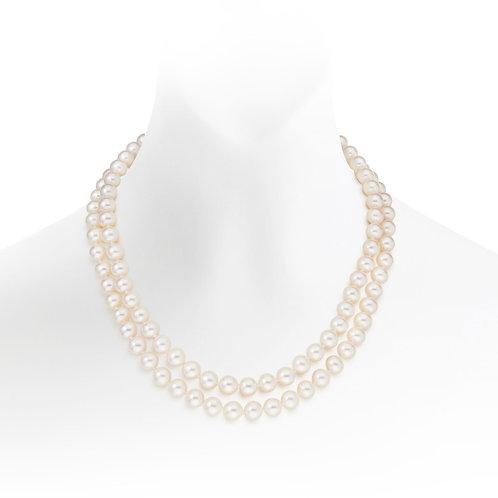 Collier 2 rangs en perles d'eau douce (10-11 mm)