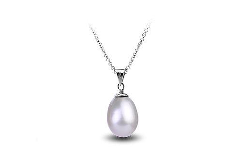 Collier pendentif perle d'eau douce blanche (8 mm)