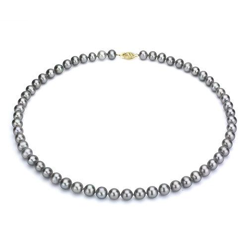 Collier de perles de culture d'eau douce grises (9-10 mm)