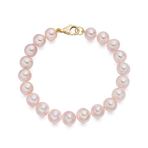 Bracelet perles d'eau douce rose (8-9 mm)
