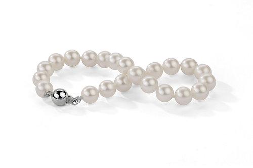 Bracelet perles d'eau douce blanches (6-7 mm)