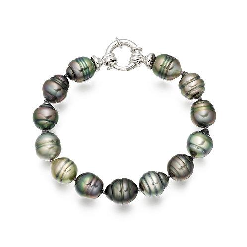 Bracelet perles de Tahiti baroques multicolores (9-10 mm)